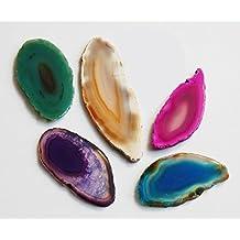 Edelsteine, fünf farbige Achatscheiben