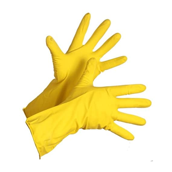Spartan Standard Rubber hand gloves reusable set of 3 pairs, size 8inch for washing, cleaning Kitchen Garden (Color May Vary)