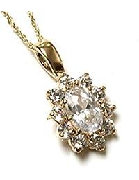 Or 9 carats-Oxyde de zirconium-Chaîne et pendentif grappe
