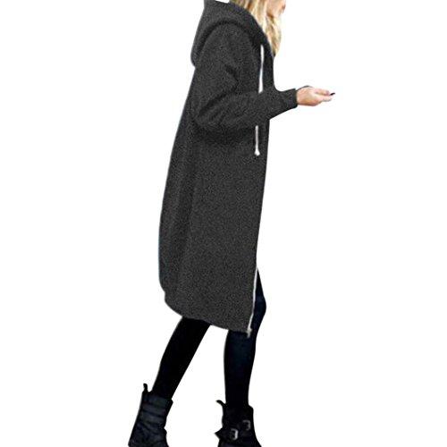 Damen Strickjacke URSING Cardigan Warm Reißverschluss Hoodies Sweatshirt Lange Manteljacke Einfarbig Sport Outwear Klassischer Kapuzenjacke Zip-Hoodie Sweatjacke Langer Kapuzenpullover (S, Grau) (Klassische Damen-strickjacke)