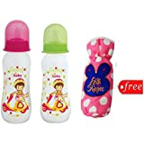 Gilli Shopee Bottle Cover Free With Mee Mee Premium Baby Feeding Bottle, 250ml Pack Of 2 (Green & Pink)
