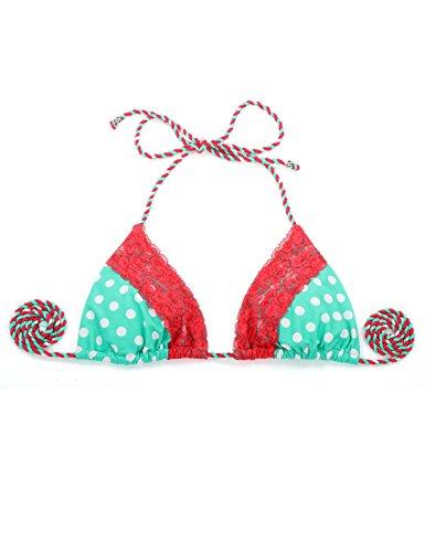 RELLECIGA Damen Bademode Bikini Top Triangel Oberteil Luxusspitze Grün + rote Spitze