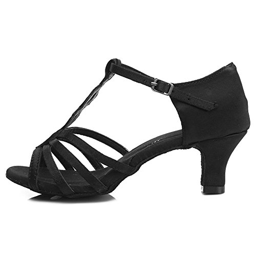 HIPPOSEUS Donna Ballroom Scarpe da ballo /sala da ballo scarpe/Scarpe da ballo latino standard di Raso,Modello-IT230 5CM Nero