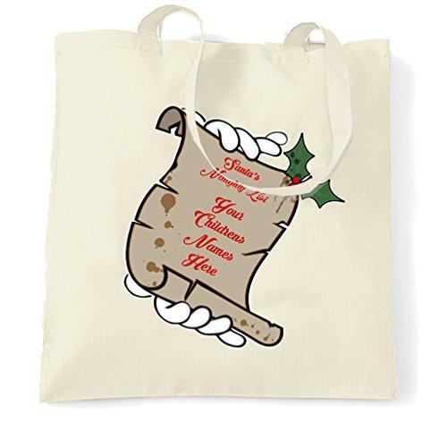Natale Sacchetto Di Tote Lista Naughty Santa vostri figli nomi qui personalizzato Natural