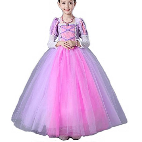 Girl's Princess Rapunzel Party Deluxe Costume Dress-Up Pink
