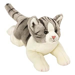 Classique gris et blanc tigré chat en peluche - taille moyenne de la gamme Yomiko