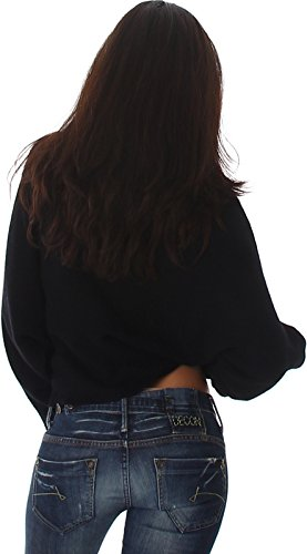 Voyelles Damen Weicher Wellness Flügelärmel-Pullover Oversize Feinstrick Sweater kurz Fledermaus-Ärmel (34/36/38) Schwarz