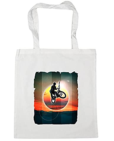 Hippowarehouse , Damen Strandtasche, weiß, 50000-DTG-TOTE-White (Bmx Racing Tire)