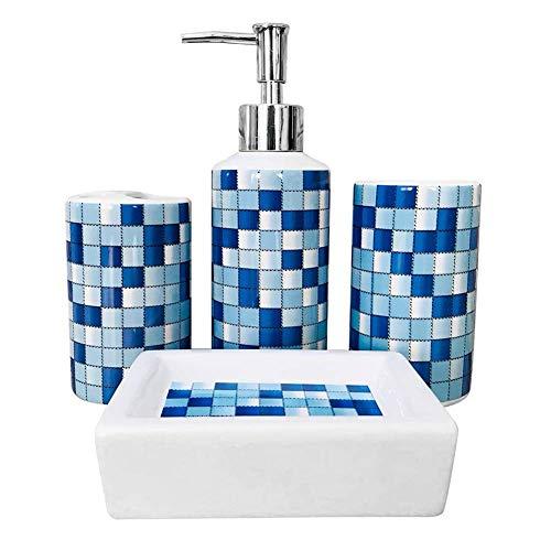 LOHOX Badezimmerzubehör-Set aus Keramik, modernes Design, Set mit Lotion-Flaschen, Zahnbürstenhalter, Becher, Seifenspender, 4-teilig, Blaues Mosaik, 4er-Set
