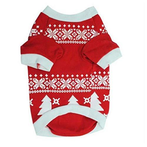 Gamloious Weihnachtsschnee-Hunde-Bekleidung Hunde-T-Shirt Welpen Kleidung Pudel Yorkshire Terrier Baumwollmantel Pet Kostüm rot (Pudel Shirt Kostüm)