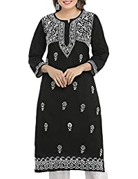 7ee642bd43 ADA Hand Embroidered Lucknow Chikan Womens Cotton Kurti Kurta  (A341075_Black)