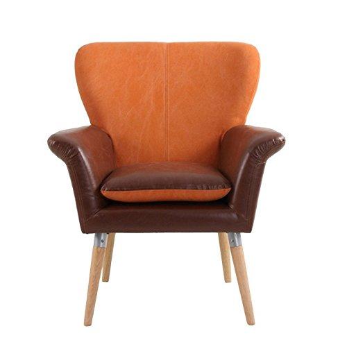 Escandinava Silla de piel sintética marrón y naranja Home Vical de tela