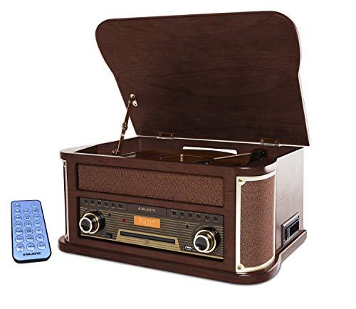 Majestic TT 47 DAB Plattenspieler 33/45/78 U/min, Bluetooth, DAB+ und FM-Radio, CD/MP3-Player, USB-Anschluss, Kassette, Fernbedienung, braun -