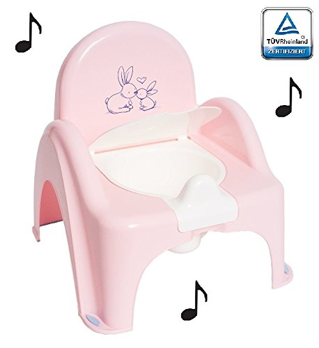 Topf de Toilette Musical für Baby Kinder Sessel Stuhl Thema Hase Farbe Rosa