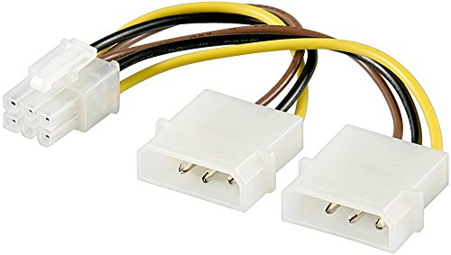 6 poliges Grafikkarten-Stromkabel Adapter Strom Kabel PCIe PCI-E PCI Express PEG (3x PC-Stromkabe)