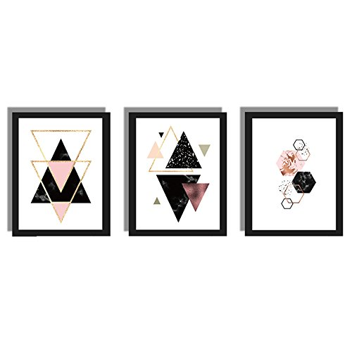 TOOGOO 3 piezas / juego Decoracion nordica Pintura geometrica de la lona del arte de la pared Carteles de decoracion Cuadros de pared de arte de lona (Sin marco) 40cm x 50cm