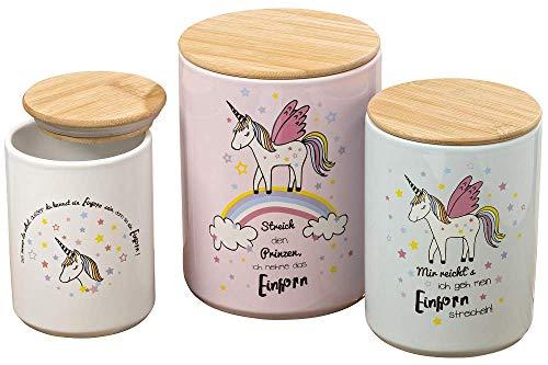 Vorratsdosen Einhorn Magic aus robustem Steingut mit Holzdeckel für Trockenvorräte, Pastellfarben,...