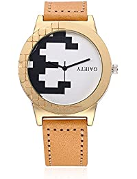 naivo Men's Quartz Stainless Steel and Gold Plated Watch, Color:Tan (Model: 1)