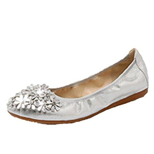 ed5044e6d5c8 Chaussure Femme Cérémonie Plat Escarpin Ohmais Argent Bride À Fête  Ballerines Mariage Demoiselle Dhonneur 1aqxpd
