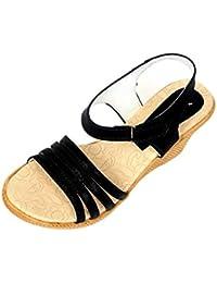 Neha Women's Brown Synthetic Sandals