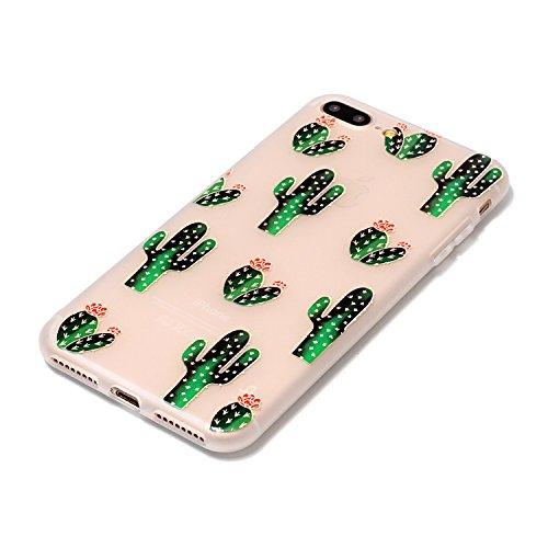 Coque iPhone 7 Plus, iPhone 7 Plus Coque Silicone Transparent, SainCat Ultra Slim Transparent TPU Silicone Case Cover pour iPhone 7 Plus, Coque Anti-Scratch Crystal Clear Soft Gel Cover Coque Fleur Tr Cactus