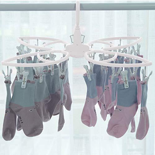 CarJTY Butterfly Roller Wäscheklammern Aufhänger Rack Multifunktions Kleiderschrank Magic Hanger 24 Clips Pink Blau