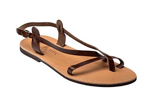 Herren Echt Leder Riemchen Sandale Sandalette Griechenland Kreta Braun 44