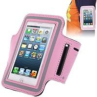 TechExpert Brassard sport tour de bras rose pour iphone 5 et iphone 5S idéal pour les sportifs, course à pied ou salle de sport avec trous pour écouteurs, bande réflechissante et pochette pour clé.