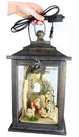 Holzlaterne, komplett mit Weihnachtskrippe + Krippenfiguren, Krippe mit Figuren, groß, mit Beleuchtung 220V, Laterne aus Holz KLG-MFOS-SCHWARZGEBEIZT groß edel schwarz dunkel gebeizt, mit Licht, Glasvitrine, Vitrine, Schaukasten, Krippenstall