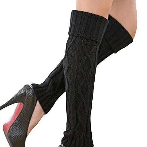 Lang Strick Knit Socken Winter Warm Stulpen gestrickt gehäkelt lang Socken Stiefel Socken für Frauen Mädchen schwarz (Stretch-rock Gehäkelte)