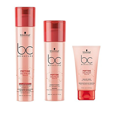 Schwarzkopf Bonacure Peptide Repair Rescue Deep Nourishing Micellar Shampoo 250ml & Conditioner 200ml & Sealed Ends 75ml -