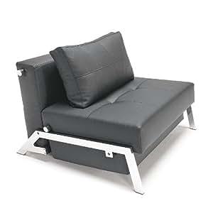 Innovation Cubed 90 Sessel/Schlafsessel, LT schwarz Gestell chrom Kunstleder