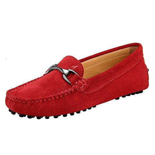Shenduo Damen Mokassins mit Metallschnallen Leder Schuhe Casual Slipper Sommer Schuhe D7062 Rot 38 (Rote Leder-schuhe)