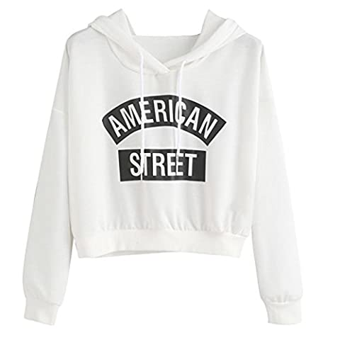Tonsee Femme Manches Longues lettres Blanc Impression Hooded Sweatshirt pulls