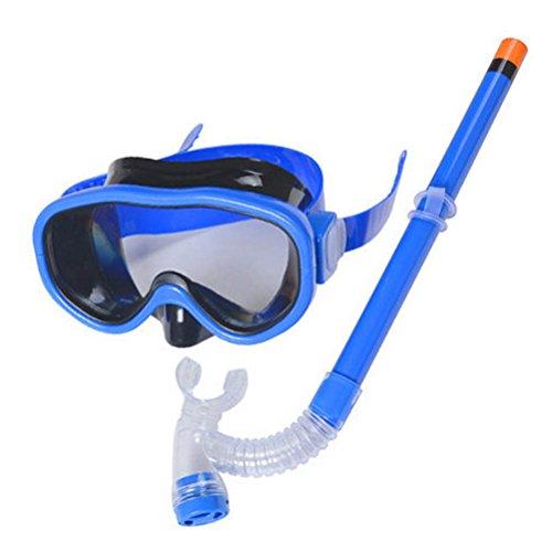 ARAUS Enfants Masque et Tuba Plongée Snorkeling Lunettes de Natation Flotteurs de Tuba Secs 3-12 Ans (Bleu foncé)