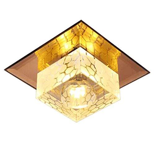 5W LED Decken-Leuchte Flurlampe Deckenlampe Moderne Lampe Deckenleuchte Gold Square Glas Schirm Deckenstrahler Innen Decke Beleuchtung Zimmerlampe Nachtlampe Flurlicht Ganglichter Balkon Bar 3000K Square Glas