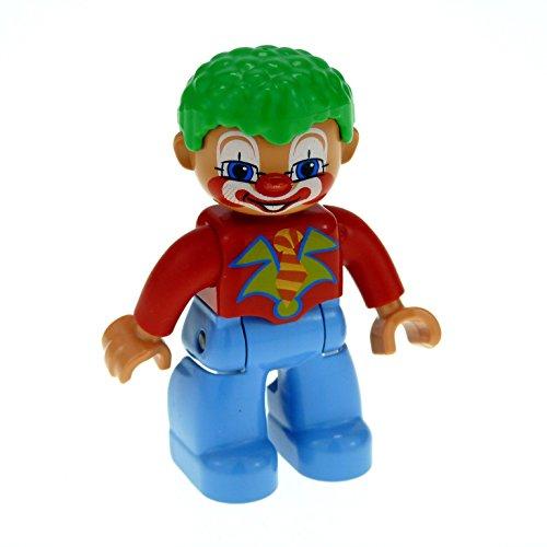 1 x Lego Duplo Figur Mann Clown Hose hell blau Hemd rot mit Krawatte Haare lockig grün Zirkus Clown ()