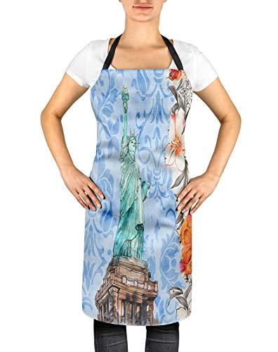 Freiheit Bib (Timingila Blau Monumente Blumendamast & Statue der Freiheit verstellbare Bedruckte küchenschürze mit Krawatte zurück kochlätzchen BBQ 24 x 32 Zoll)