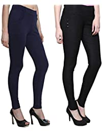 c784e55a6a MUKHAKSH (Pack of 2) Women Girls Ladies Hot Latest Stretchable (ATC) Black    Navy Blue Jeggings for Casual wear