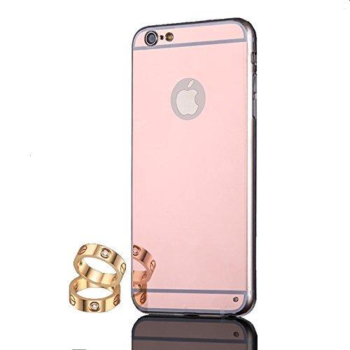 """Coque etui de protection iphone 5 5s silicone gel semi rigide effet miroir gold Rose +un film d'écran BACK CASE """"MIRROR"""" iPhone 5 5s"""" iphone 5 5s gold Rose + Protection écran Transparence"""