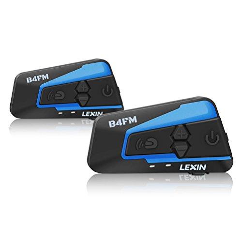 LEXIN LX-B4FM Interfono Moto, Moto auricolare Bluetooth con FM, Comunicazione da 1600m tra 4 Motociclisti, Casco Interfono Bluetooth con Cancellazione del Rumore, Cuffie Interfono Bluetooth per Moto