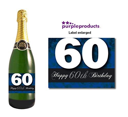 Blue happy 60th birthday champagne bottle label celebrazione regalo per donne e uomini.