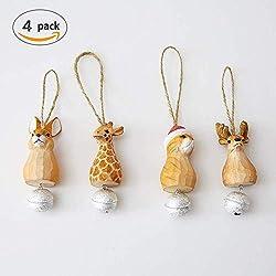 Juego de 4 adornos de árbol de Navidad de madera de borla para gato/reno/conejo/jirafa, campana XMAS para colgar decoraciones, 10 cm, colgante pequeño de almacenamiento de fieltro para el hogar, color rojo, para regalo, vacaciones, fiestas, decoración