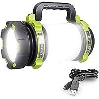 Ustellar 1000 Lumens Lanterne LED Rechargeable, Ultra Puissante, 4000mAh Batterie, 4 Modes, Lampe de Camping, Câble USB Inclus, IPX4 Étanche, Spot Pour Randonnée