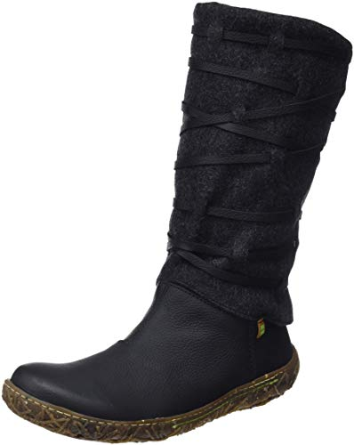 El Naturalista N5441 Soft Grain-Premium Wool Black/Nido, Botas Altas para Mujer, Negro, 37 EU
