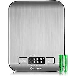 Etekcity Balance Cuisine Balance de Précision, Balance de Cuisine Numérique en Acier Inoxydable de 5kg, Ultra-Mince de 1,5 cm, Mesure du Liquide, LCD Rétroéclairé, Auto-arrêt