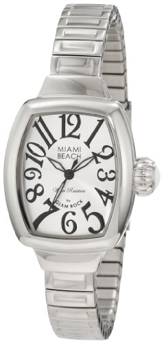 Glam Rock Women's Miami Beach Art Deco Steel Bracelet & Case Quartz Silver-Tone Dial Analog Watch MBD27042