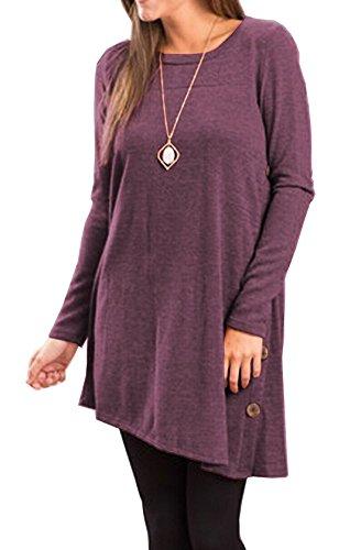 Femme Casual Tunique Style Tops Mini Robe Dress Longues Manches Basique Lrrégulier Robe T-Shirt Plissée-Robe Violet foncé