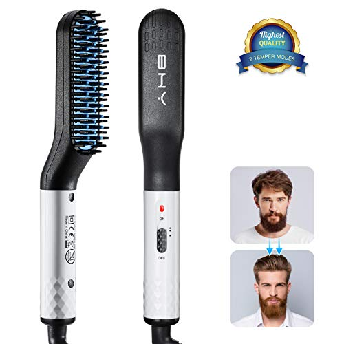 Pettine lisciante per capelli, bhy pettine barba ceramica piastra barba uomo spazzola lisciante per capelli arricciatura anti-bruciore da barba