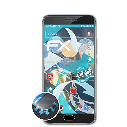 atFolix Schutzfolie passend für Meizu MX6 Folie, ultraklare & Flexible FX Bildschirmschutzfolie (3X)